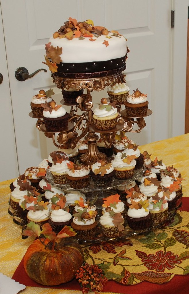 fall wedding cakes with cupcakes fall wedding cupcake tower pumpkin southern buttermilk 14171