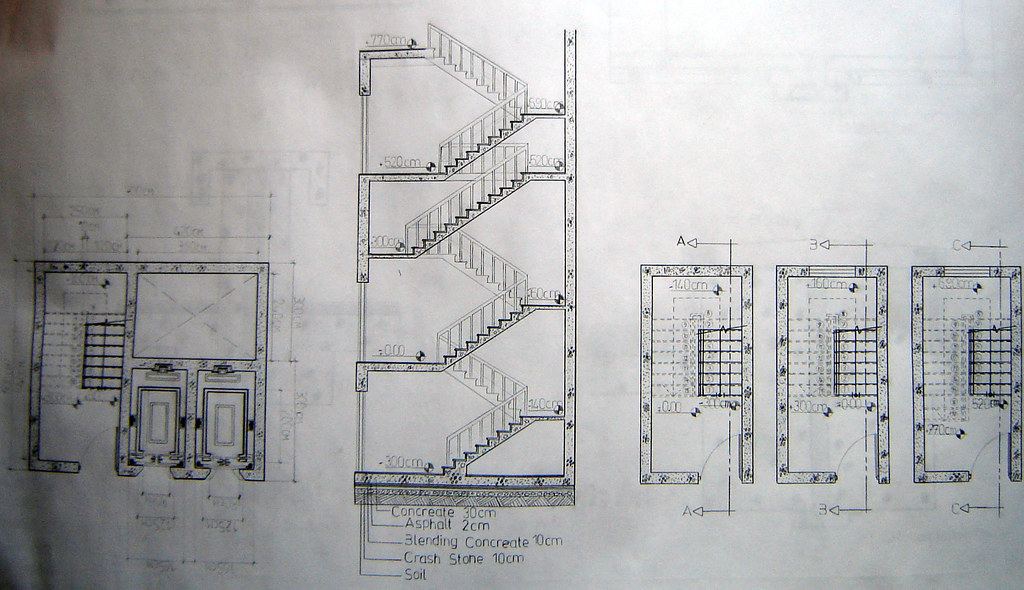 Section Plan Of Elevator And Stairs Construction