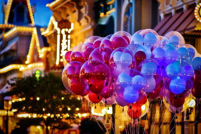 Balloons on Main Street USA at Dusk