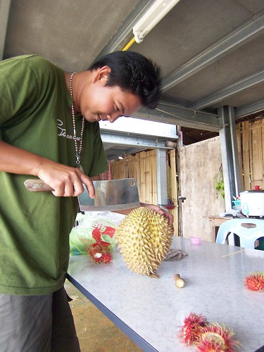 Cutting open a durian | by TravelSara.com