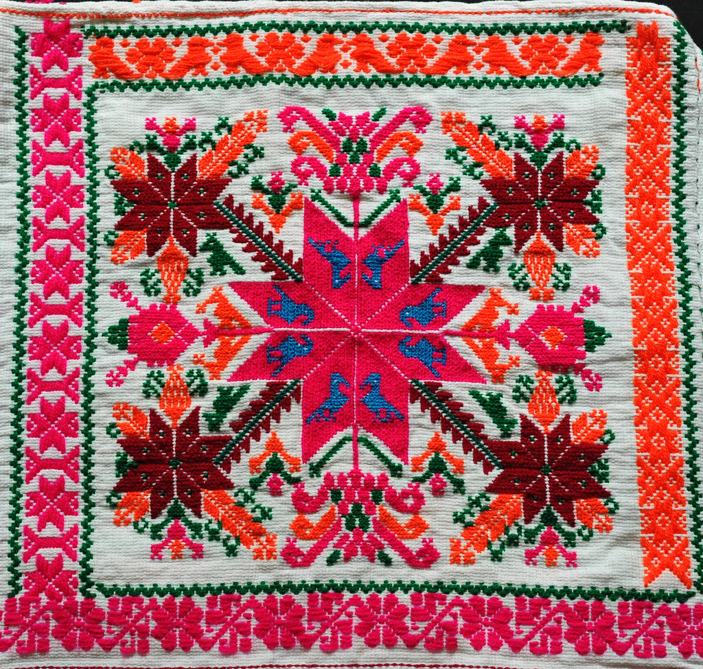 Mexican embroidery close up of on a