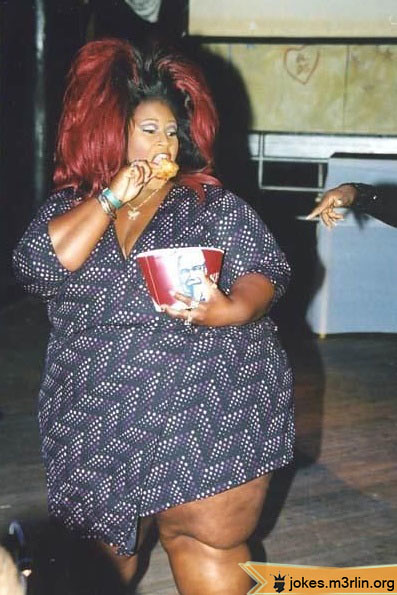 000946-Fat-Overweight-Black-Woman-With-Huge-Red-Hair-Eatin -7832