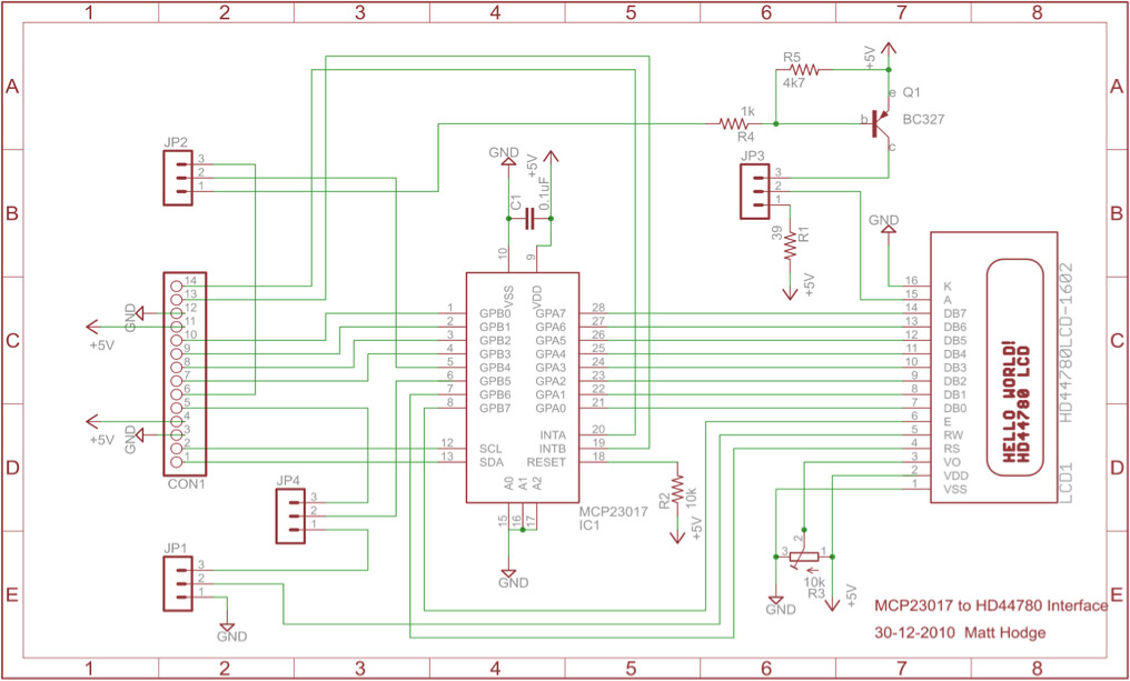 arduino i2c  mcp 23017  lcd interface