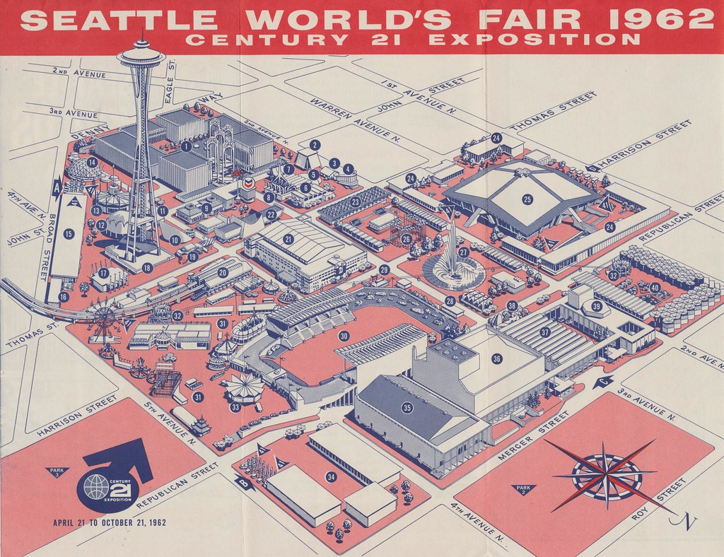 Seattle World39s Fair 1962 Map Of The Fairgrounds  1 US