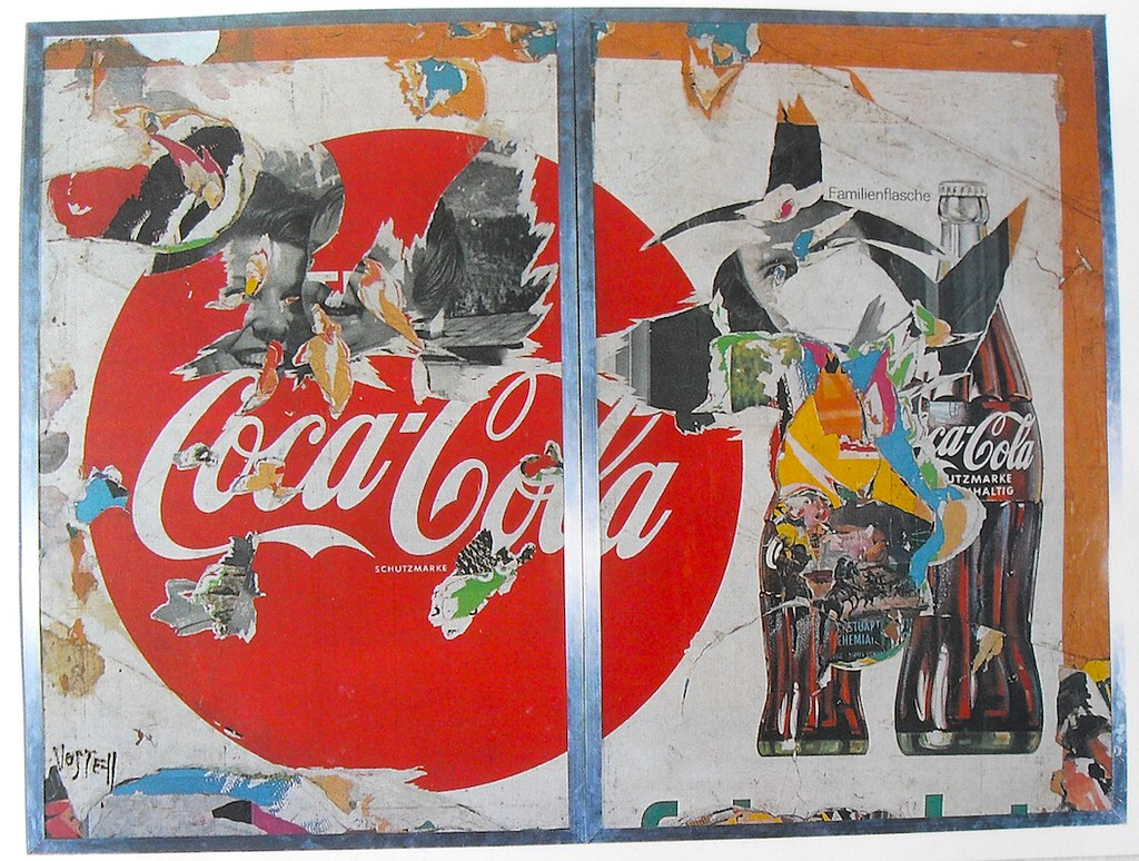 1969 WOLF VOSTELL COCA COLA Collage 1960s Torn Vintage Adv ...