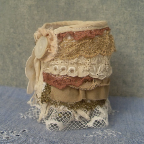 ruffled wrist cuff from salvaged textiles | by Resurrection Rags