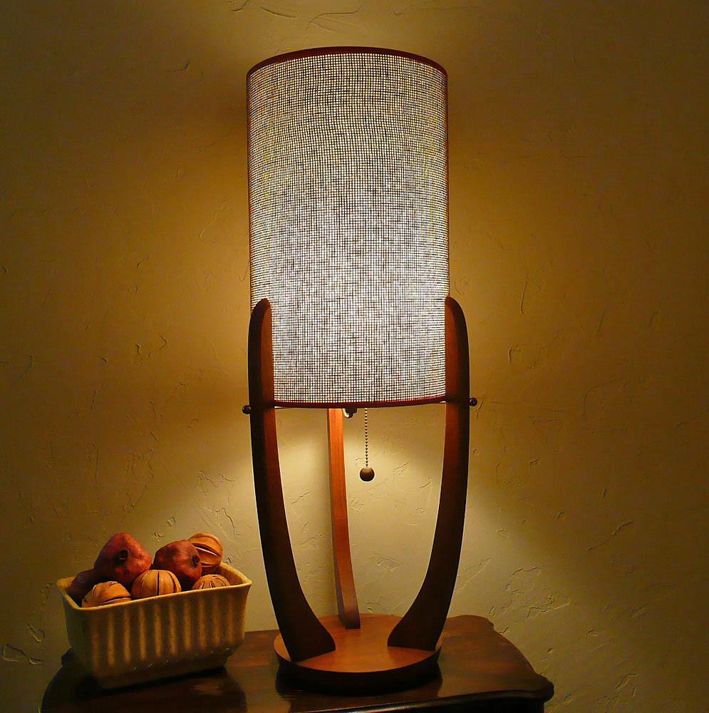 Mid Century Modern Teak Lamp With Grasscloth Shade | Flickr