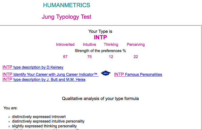 jung typology test Online test based on jung and briggs myers typology provides your personality formula, the description of your type, list of occupations, and option to assess your compatibility against any soulmate.