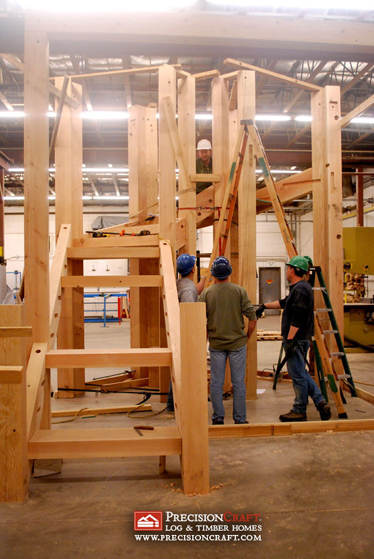 Large timber frame stairs a timber frame stair case put for Ready made stairs