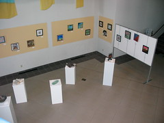 An overhead view of easel