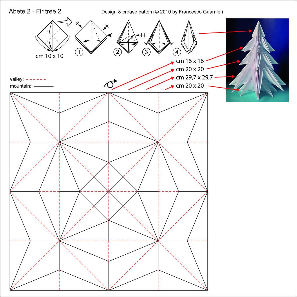 Abete 2 - Fir tree 2 (Crease Pattern, white side ... - photo#20