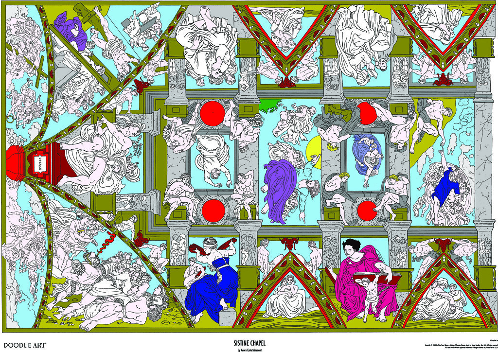 Doodle Art Sistine Chapel Coloring Page Poster This