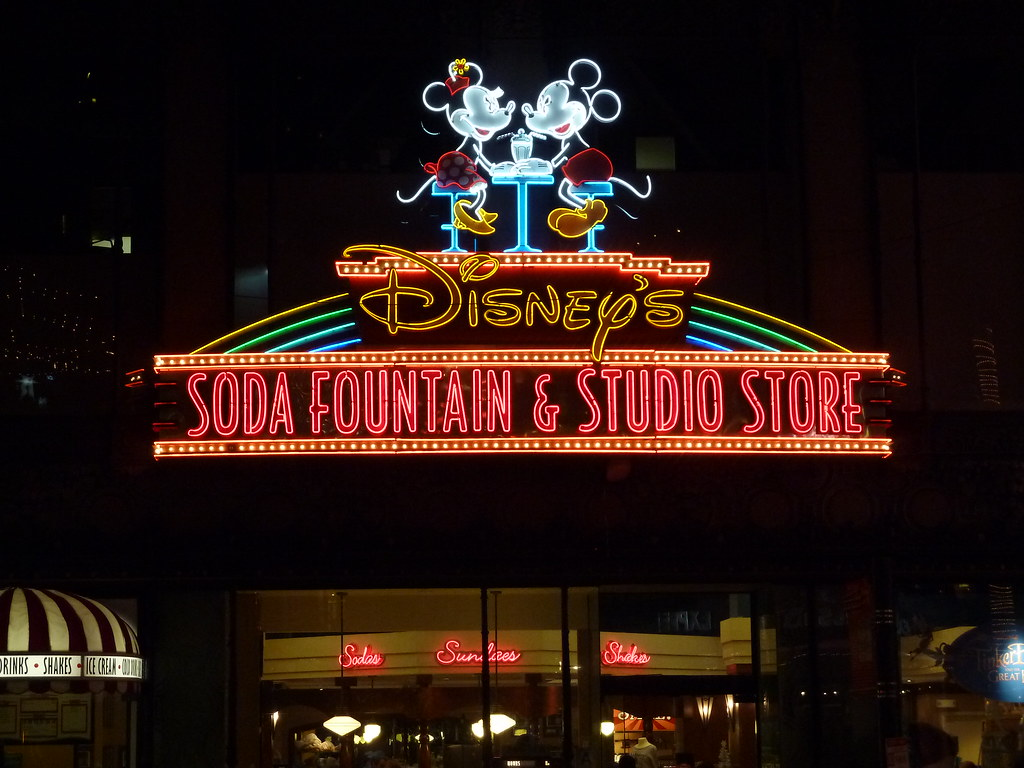 Disney's Studio store on Hollywood Blvd. at night in Holly ...