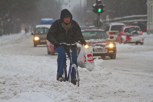 Snowstorm Going Strong - Winter Cycling in Copenhagen | by Mikael Colville-Andersen
