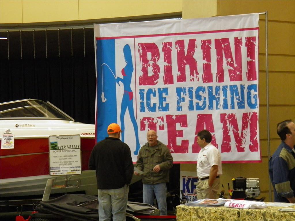 Bikini ice fishing team sign saint paul sportsman show for Ice fishing show