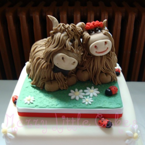 Cow Bride And Groom Cake Toppers