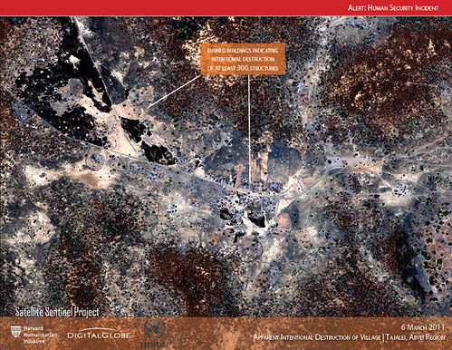 Satellite image of the burning of Tajalei, March 6, 2011, Credit: DigitalGlobe | by ENOUGH Project