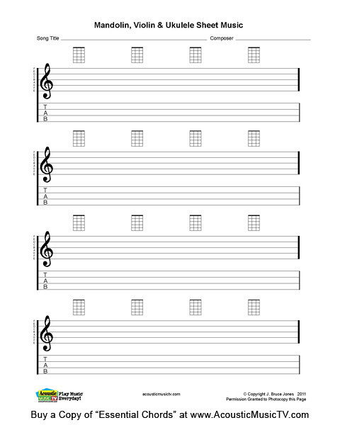 Essential Chords, Mandolin and Ukulele Blank Sheet Music : Flickr