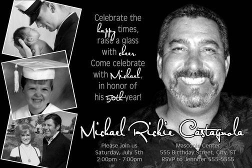 Classic Black & White 50th Birthday Invitation 40th 60th 7 ...