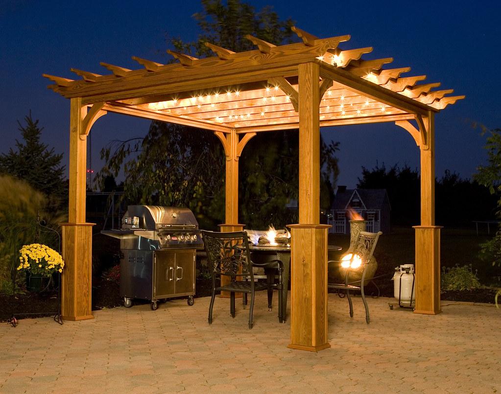 Pergola on patio at night 10 x 10 deluxe 4 beam treated flickr - Pergolas minimalistas ...