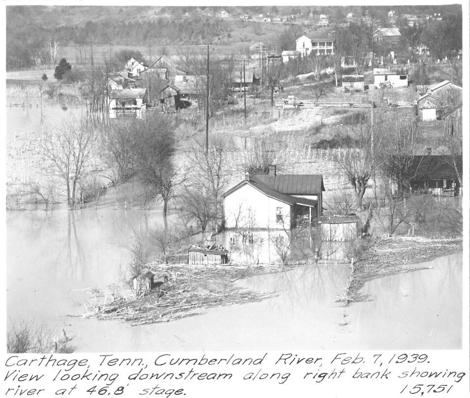 Cumberland River Flood 1939 - Carthage, Tennessee   U.S ...
