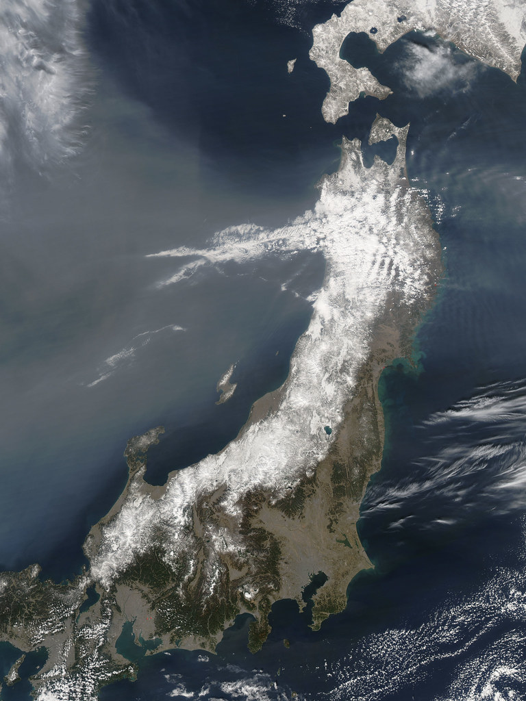 nasa satellite view of northeastern japan on march 13  201