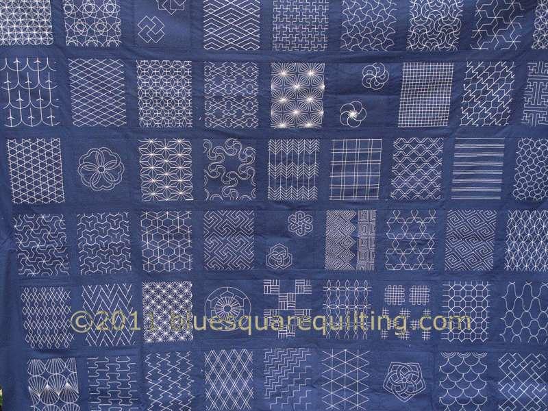 Sashiko Quilting Patterns Free : Sashiko Quilt Top - detail bluesquarequilting Flickr