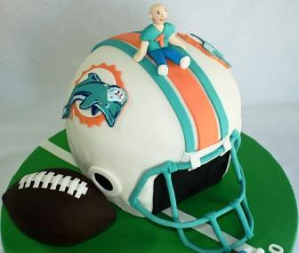 Miami Dolphins Football Helmet Baby Shower Cake With Dad
