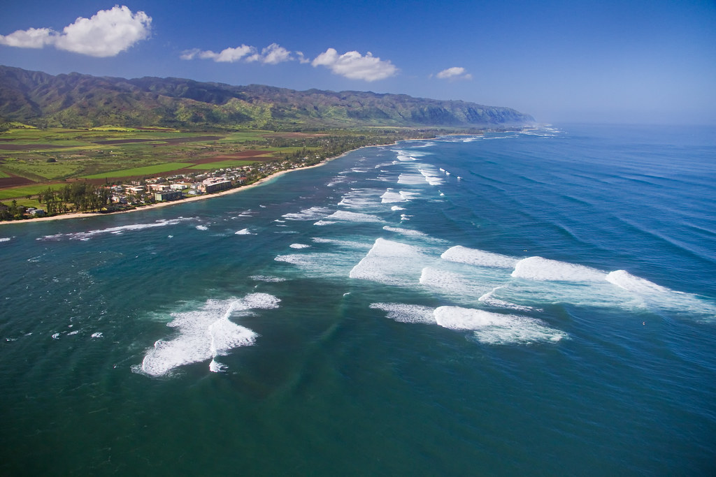 Surf At Waialua Aerial View Some Of The Best Surfing