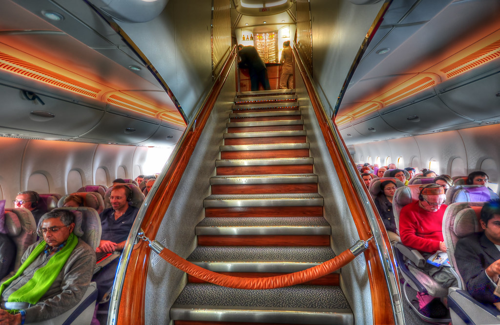 Airbus A380 Emirates | Front stairs of an Airbus A380 ...