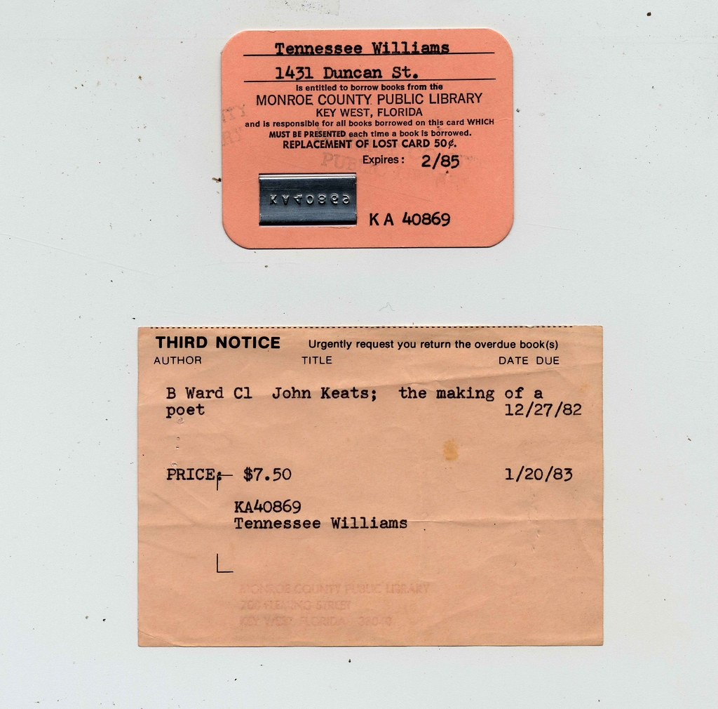 Tennessee Williams Library Card Tennessee Williams