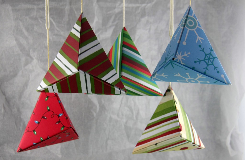 Origami Christmas Ornaments Folded by Cindy
