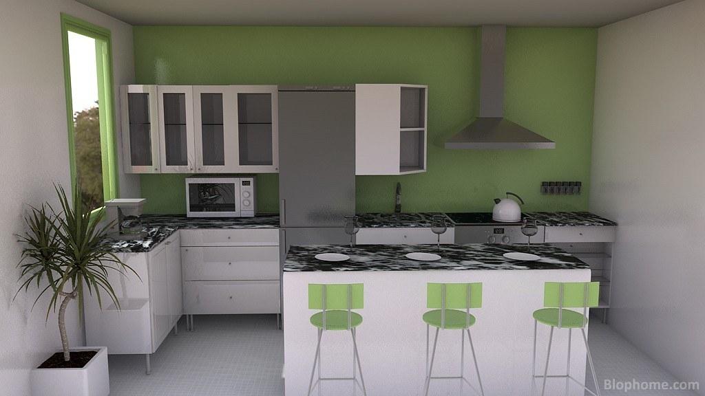 Cocinas funcionales cocina con desayunador en color for Cocinas en 3d gratis