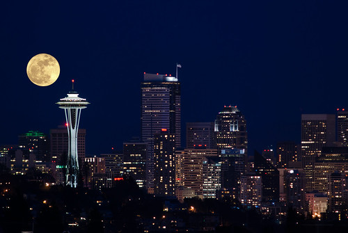 Super Moon Superimposed on Seattle | by metadata man