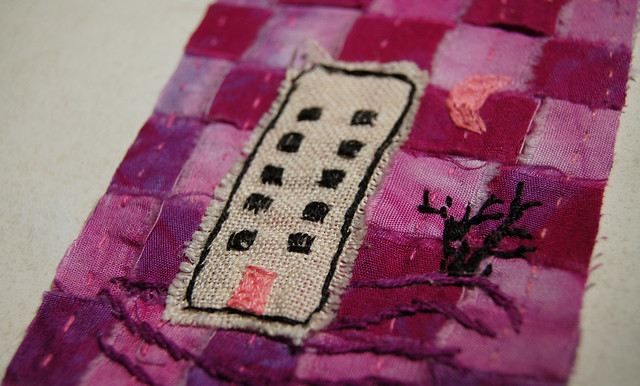 Under a pink moon - ATC detail by Hanna Andersson, aka iHanna