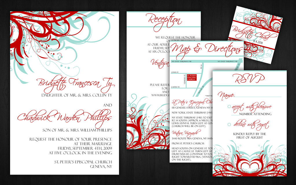White And Red Wedding Invitations: Aqua (Tiffany Blue) And Red Wedding Invitations