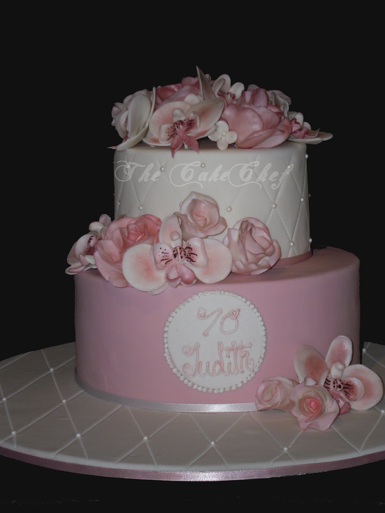 70th Birthday cake. Dusky rose colour with sugar Roses ...