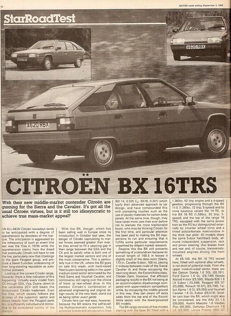 citroen bx 16 trs road test 1983 1 flickr photo sharing. Black Bedroom Furniture Sets. Home Design Ideas