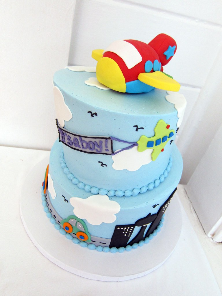 Airplane Baby Shower Cake Polkadots Olga Flickr