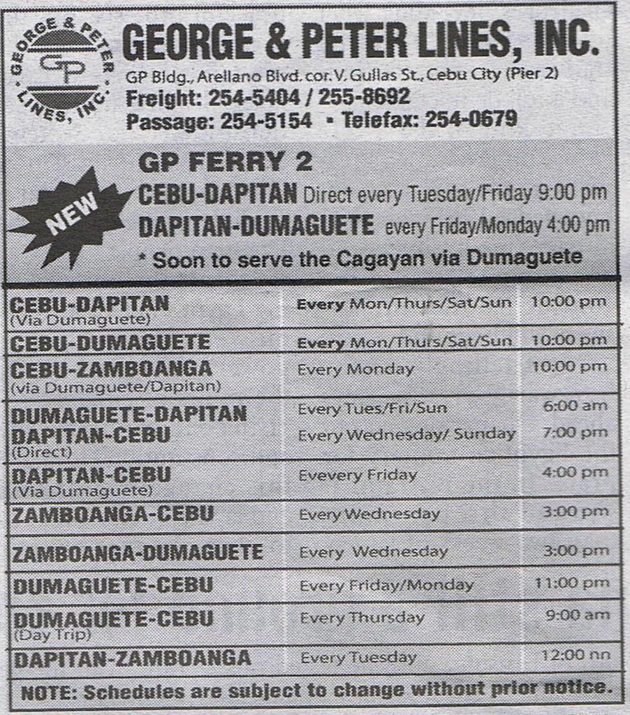 weekley schedule