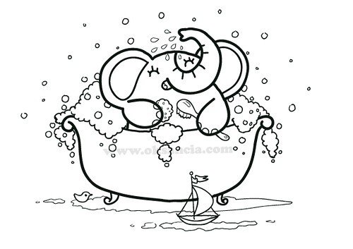Bath time coloring page from rondy the elephant first for Bath time coloring pages
