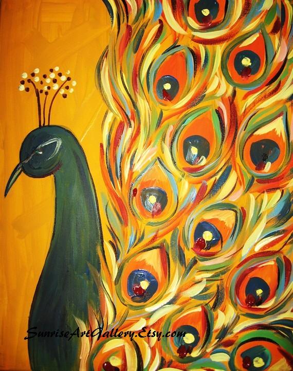 Peacock acrylic paintings - photo#8