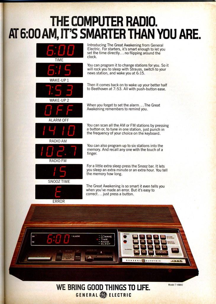 GE Computer Radio - 1979 | The Computer Radio. At 6:00AM ...