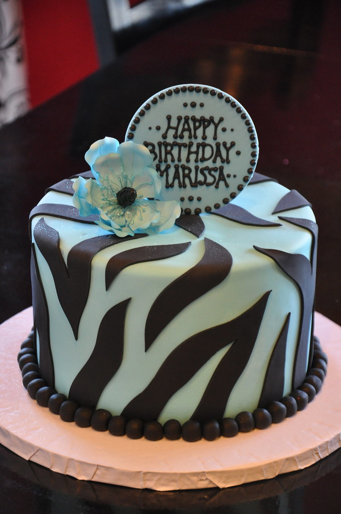 Blue And Black Zebra Super Fun Small Cake For An 11 Year