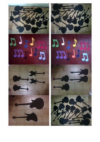 Guitarras e notas musicais para decoração de festa  by victor