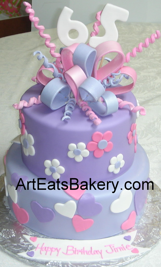 Two Tier Purple Pink And White Fondant Hearts And Flowers