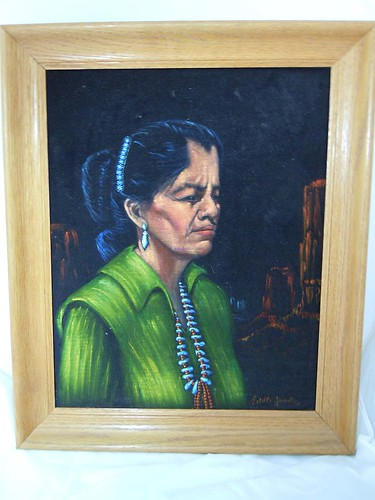 Vintage Native American woman on Black Velvet | by Katorina