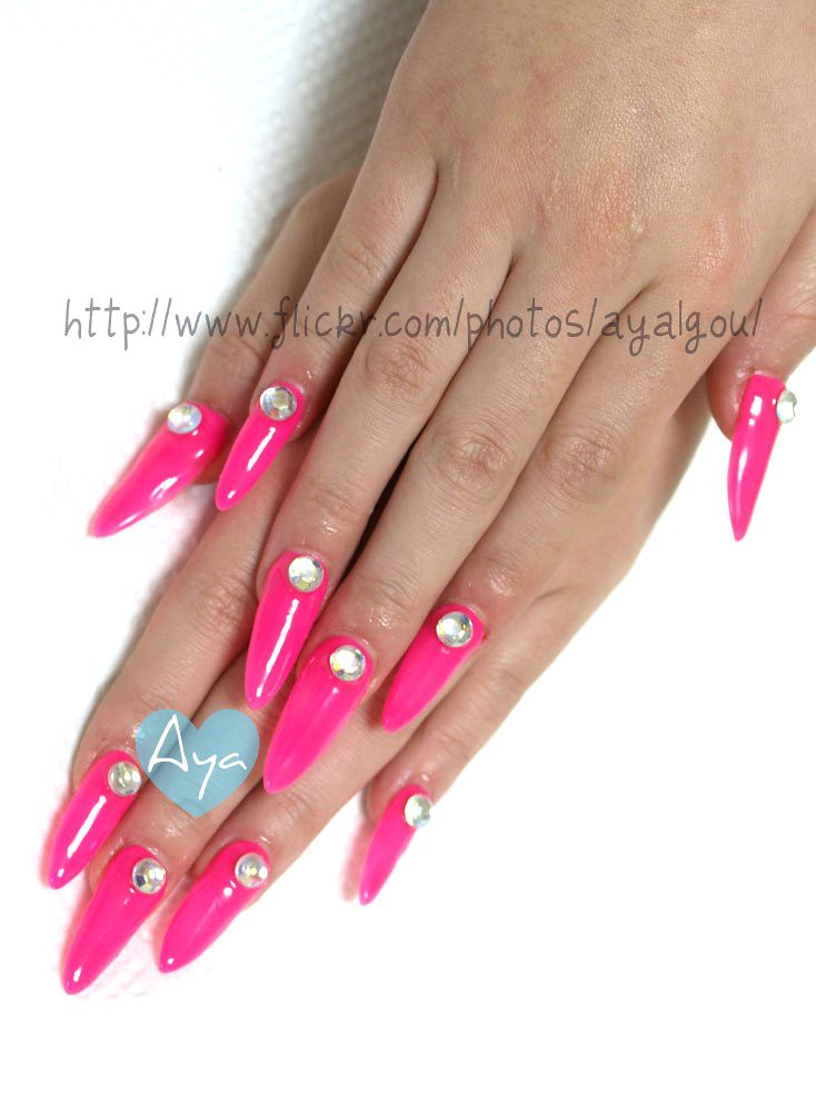Neon pink long nails | My client Acrylic tip over-lay Rhines… | Flickr