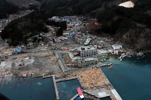 Aerial view of damage to Wakuya, Japan following earthquake. | by Official U.S. Navy Imagery