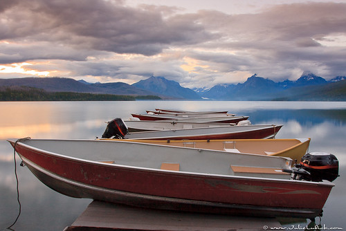 Boats Resting on Dock at Sunset | by Julie Lubick
